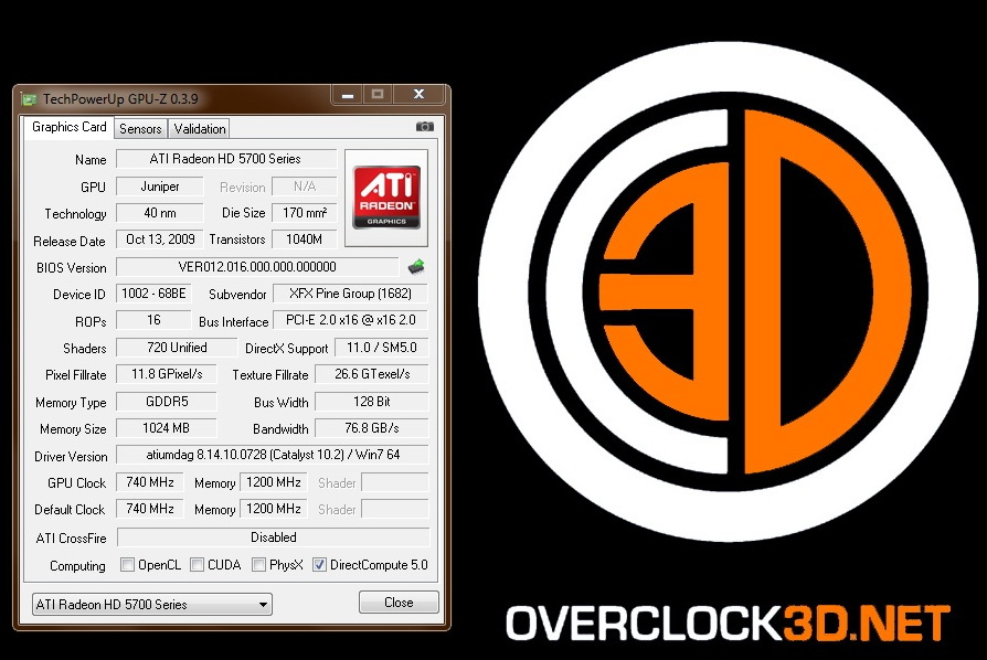 XFX Radeon 5750 XXX Stock Core Clock Speed