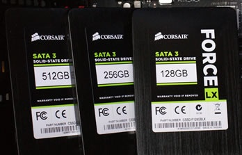 Corsair Force LX 128GB 256GB 512GB SSD Round up Review