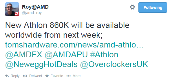 Athlon x4 860K Launching next week