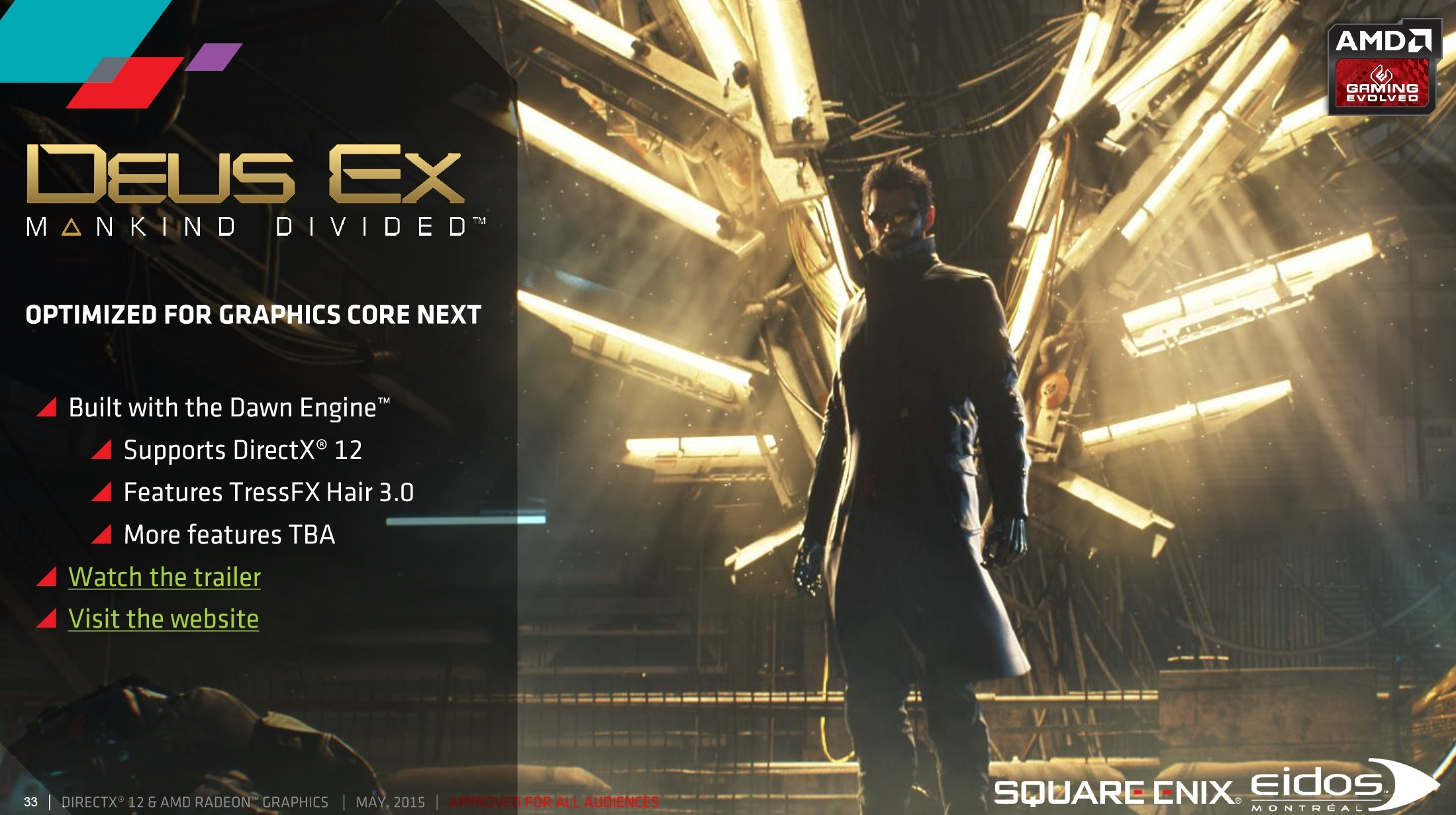 Deus Ex: Mankind Divided Confirmed to support DirectX 12 and TressFX 3.0