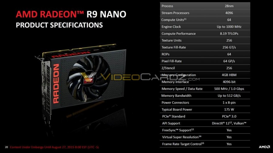 AMD R9 Nano specification leaked, has 4096 GPU cores