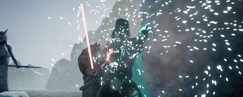 Darth Vader appears in the Unreal Engine 4 Ice Lands Demo