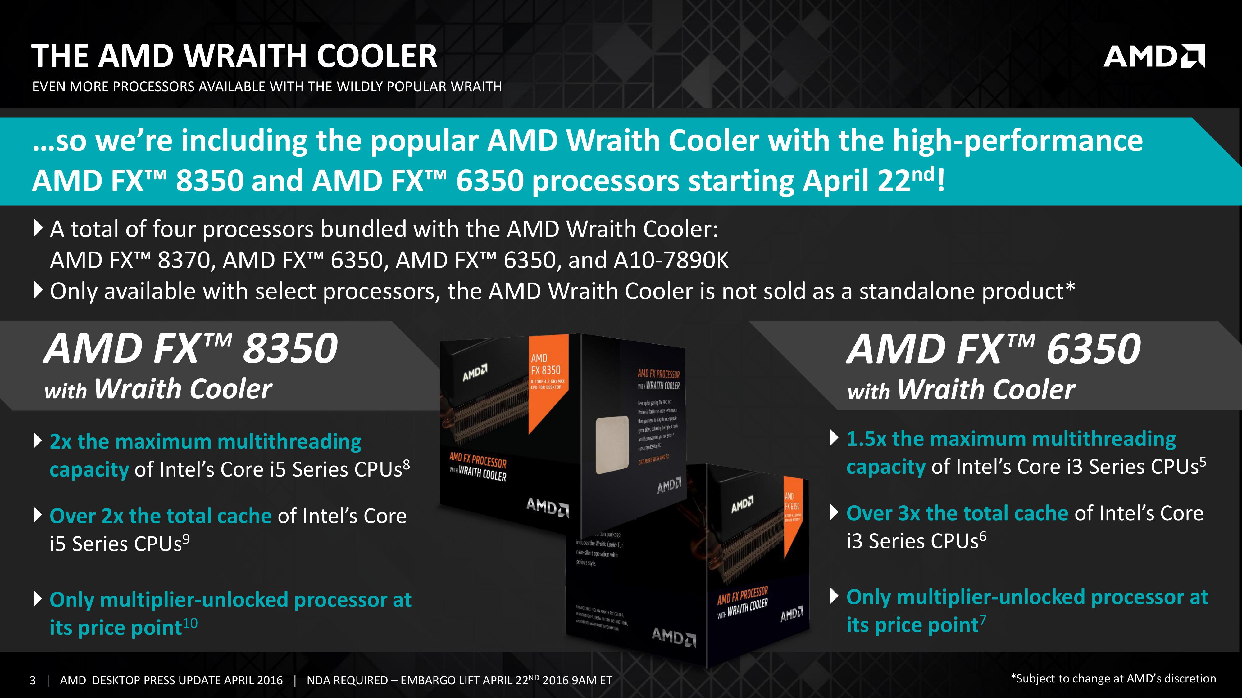 AMD Updates their FX Lineup with their new Wraith CPU Cooler