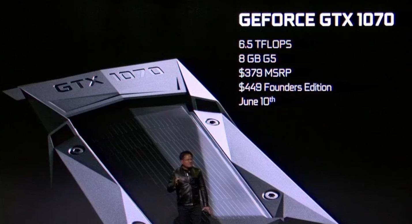 Nvidia announce their GTX 1070 GPU for $379