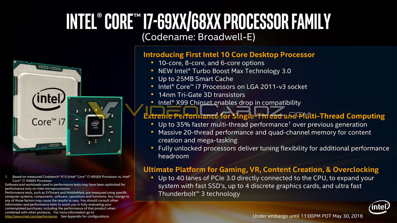 Intel Broadwell-E Pricing and Specifications leak
