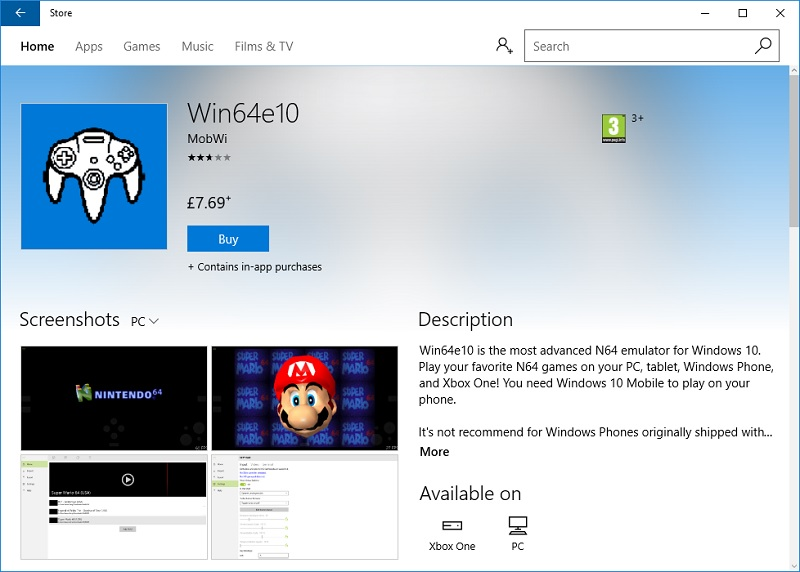 Microsoft currently sells a Nintendo 64 Emulator for PC and