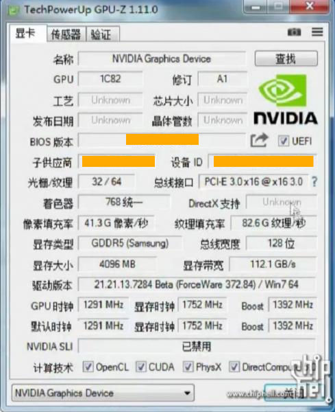 GTX 1050Ti specifications and leaked benchmarks