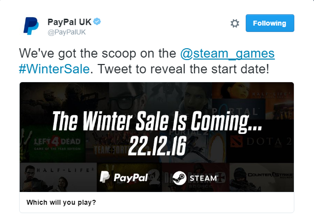 Steam's Winter Sale will start on December 22nd