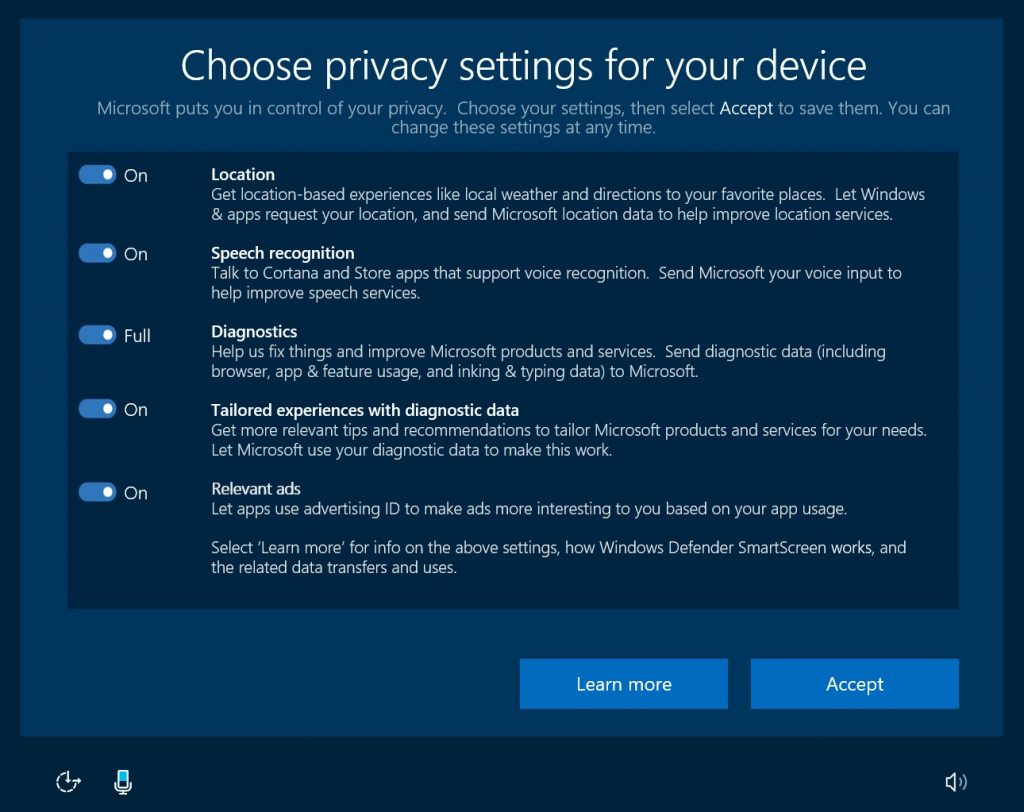 Microsoft adds additional privacy settings to Windows 10