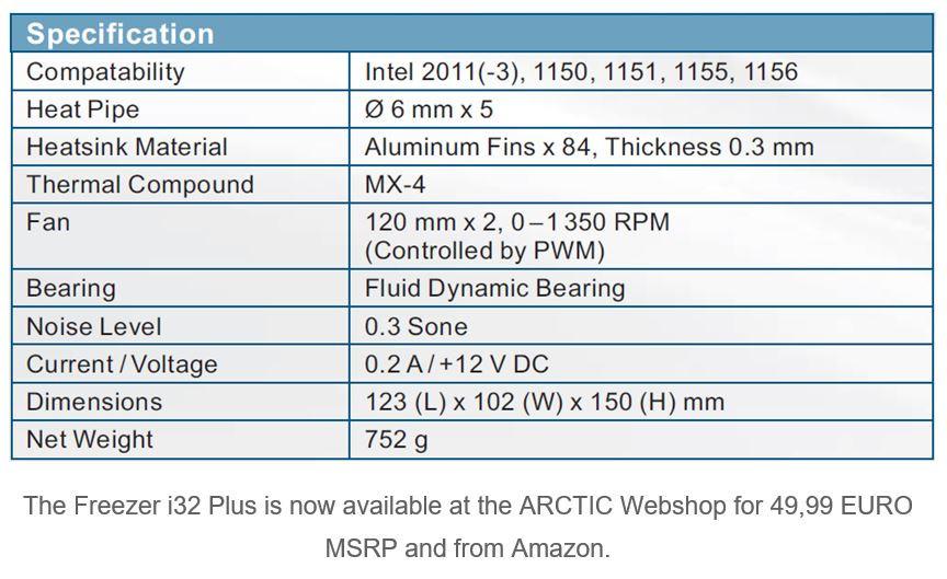 Arctic Announces the Freezer i32 Plus CPU Cooler | OC3D News