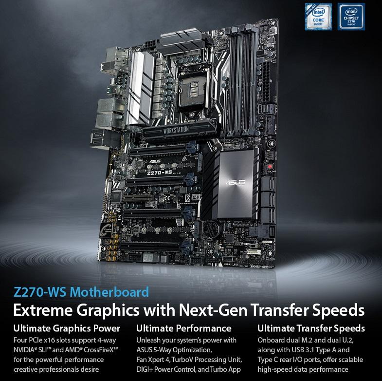 ASUS unveils their Z270-WS Workstation motherboard | OC3D News