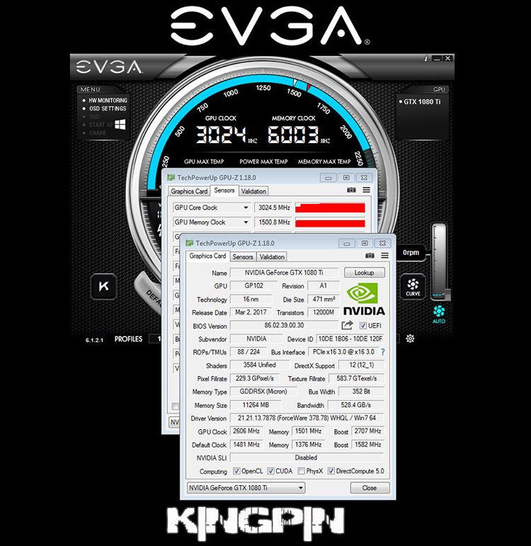 An EVGA GTX 1080 Ti has been overclocked to over 3GHz
