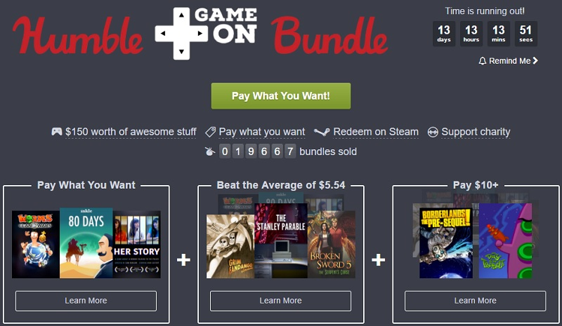 The Humble Game On bundle has been released
