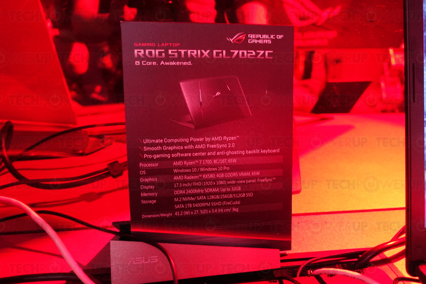 ASUS announce their ROG Strix GL702ZC notebook with an 8-core Ryzen 7 CPU