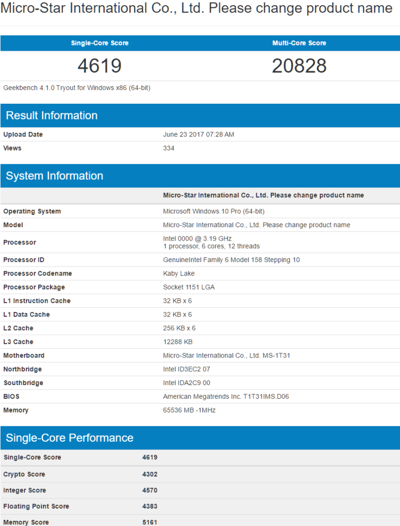 An 6-core Intel Coffee Lake CPU has appeared on the Geekbench database