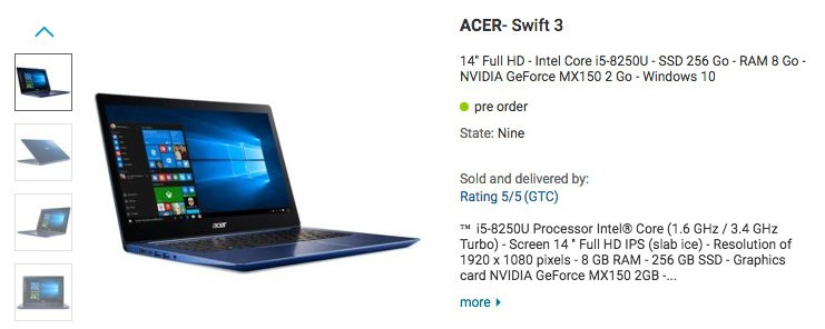 Acer lists a notebook with a
