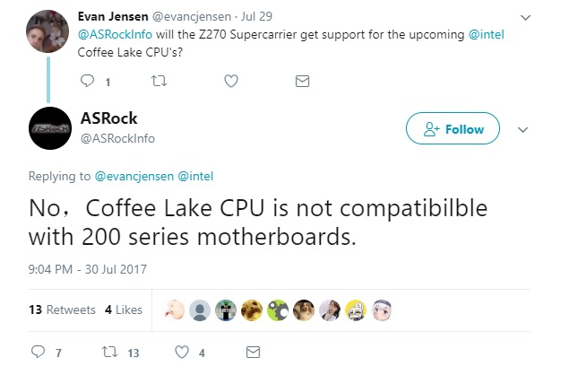 ASRock confirms that Coffee Lake will not be supported by existing Intel motherboards