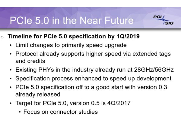 PCIe 4.0 will be finalised this year, PCIe 5.0 is planned for Q1 2019