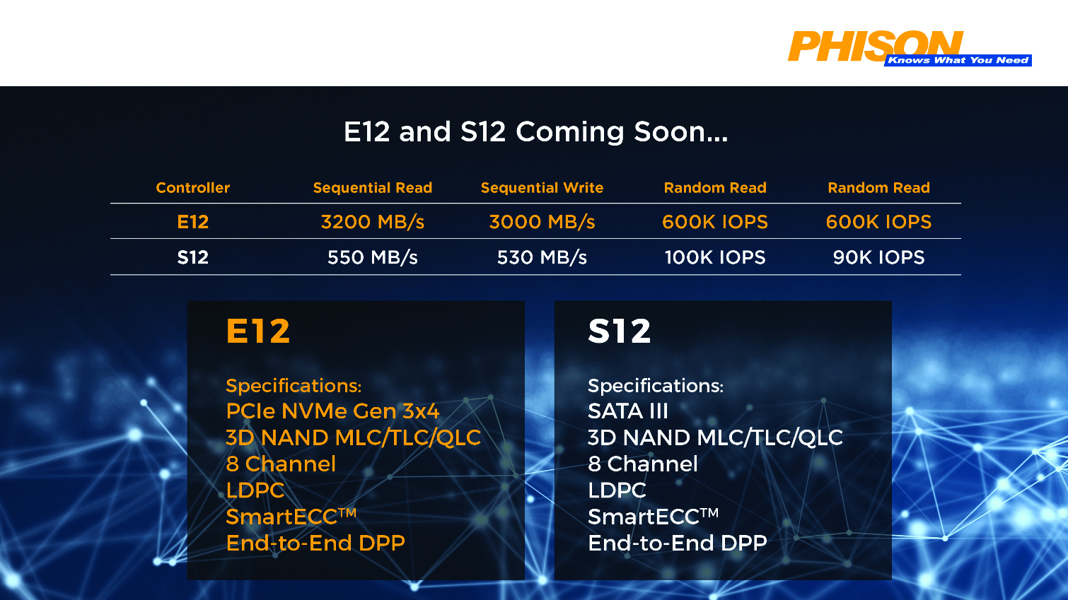 Phison details upcoming QLC compliant E12 and S12 memory controllers