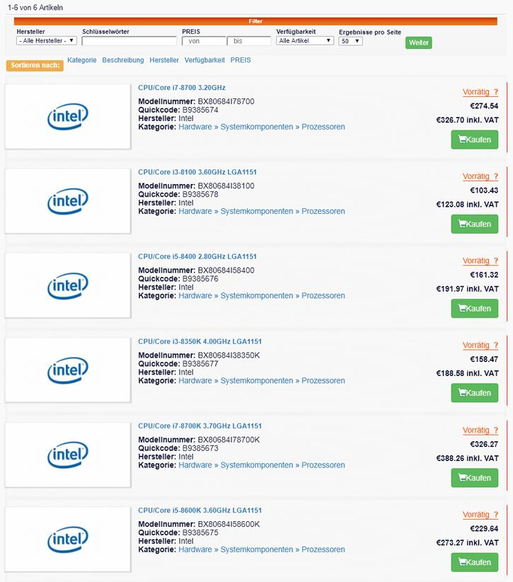 European Coffee Lake CPU pricing leaks