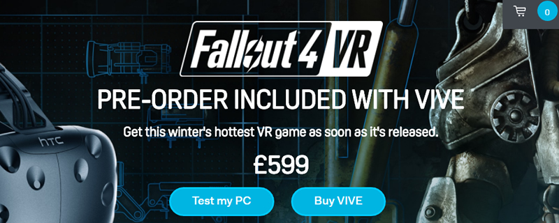 Fallout 4 VR is being bundled with new HTC Vive headsets