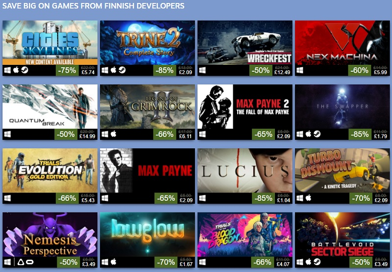 Steam begins their Finland-themed game sale