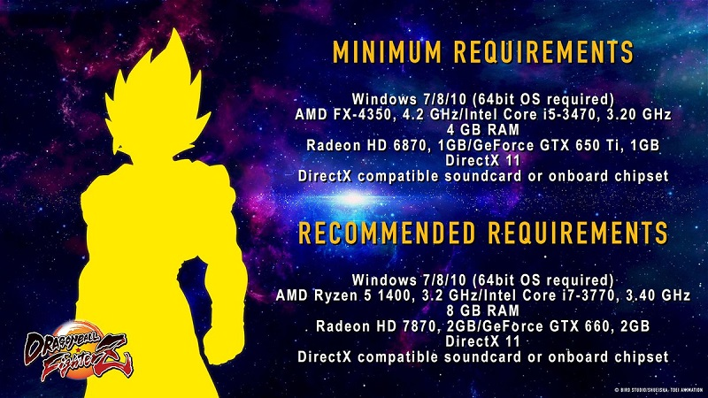 Dragon Ball Fighter Z's PC system requirements have been released