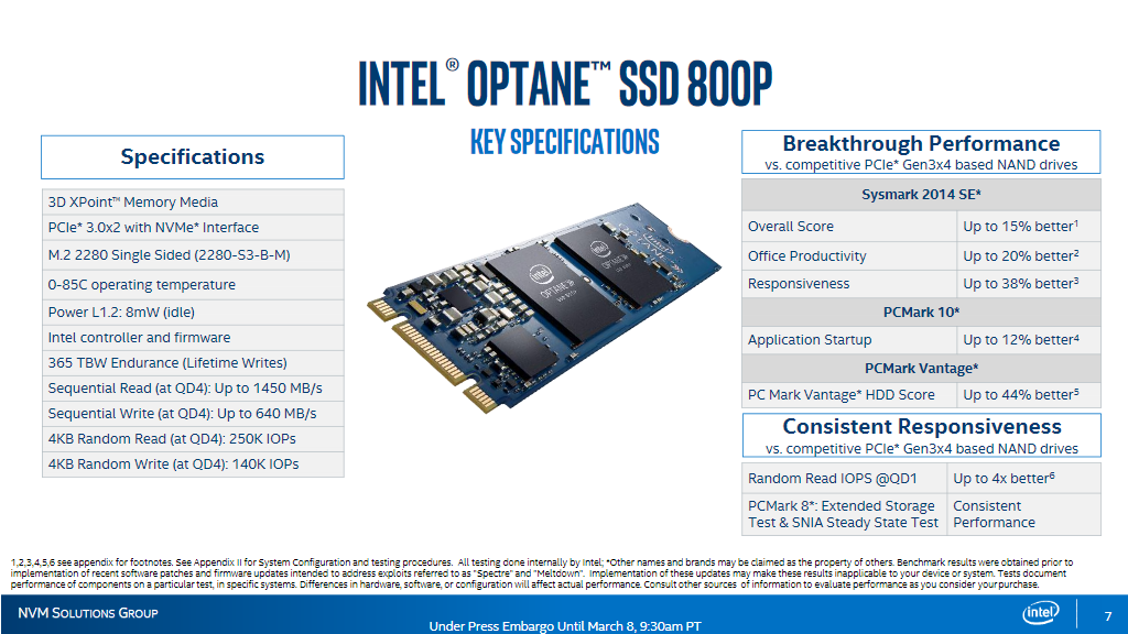 Intel releases their new 800p series of NVMe Cache SSDs