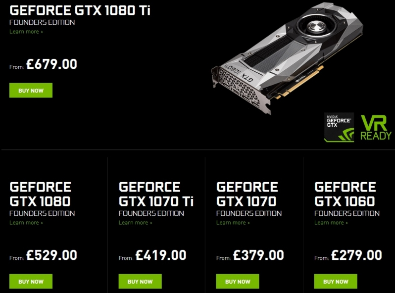 Nvidia currently have GTX Founders Edition GPUs in stock at MSRP