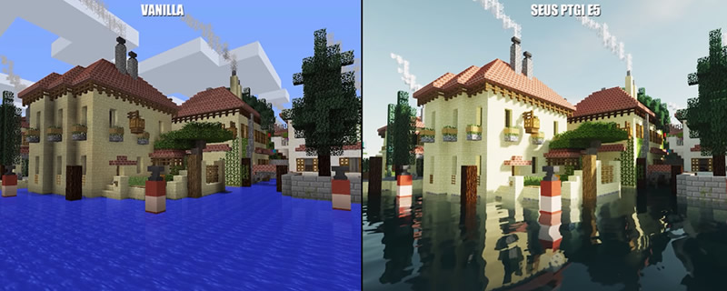 Minecraft's SEUS Path Traced Global Illumination Mod Looks