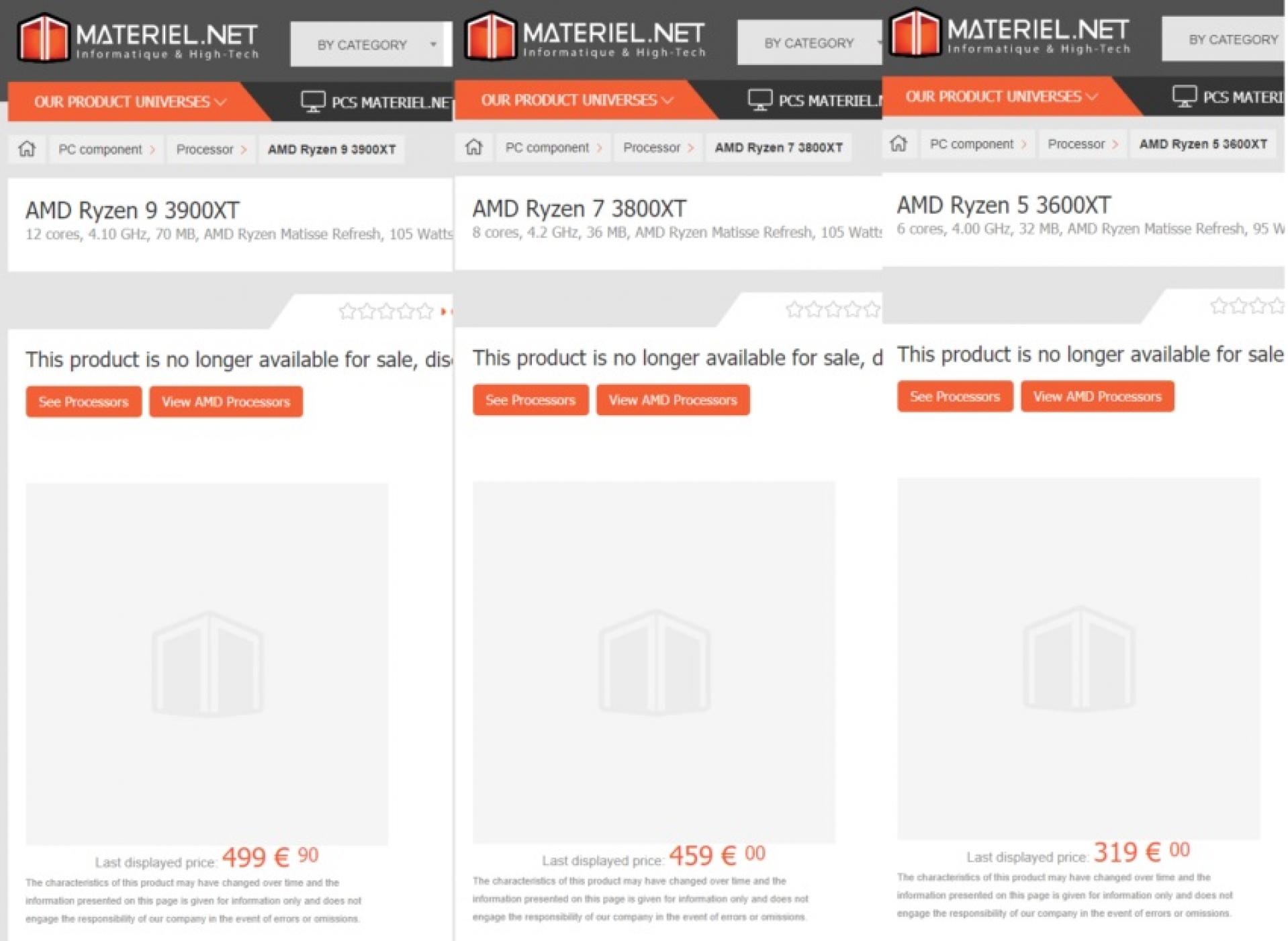 Amd S Ryzen 9 3900xt Ryzen 7 3800xt And Ryzen 5 3600xt Has Been Listed At Retail Oc3d News