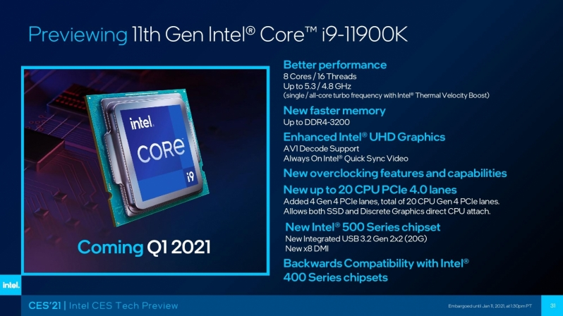 Intel claims gaming leadership with their 11th Gen i9-11900K